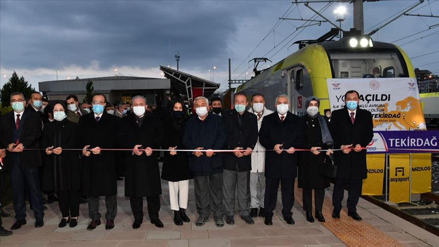 Tekirdağ'dan Avrupa'ya açılan ilk ihraç yük trenini TBMM Başkanı Şentop uğurladı