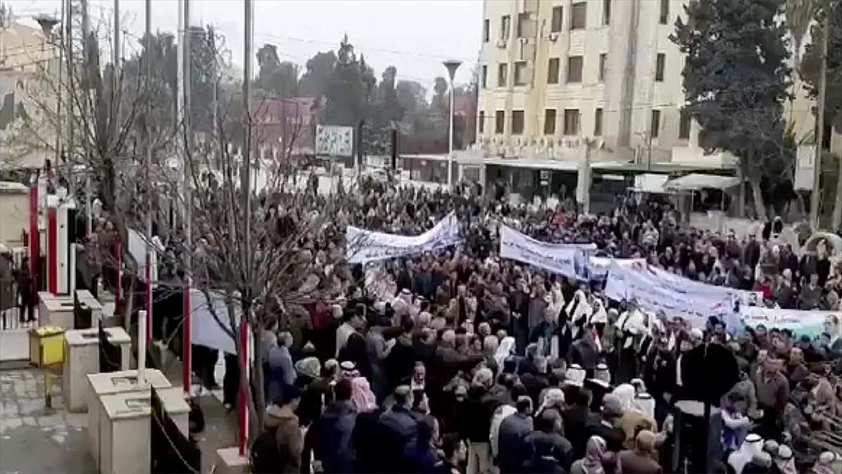 Haseke'de Esed rejimi taraftarları YPG/PKK karşıtı gösteri düzenledi