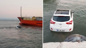 Çanakkale'de el freni inik unutulan araç denize uçtu ilginç olay cep telefonu kamerasında