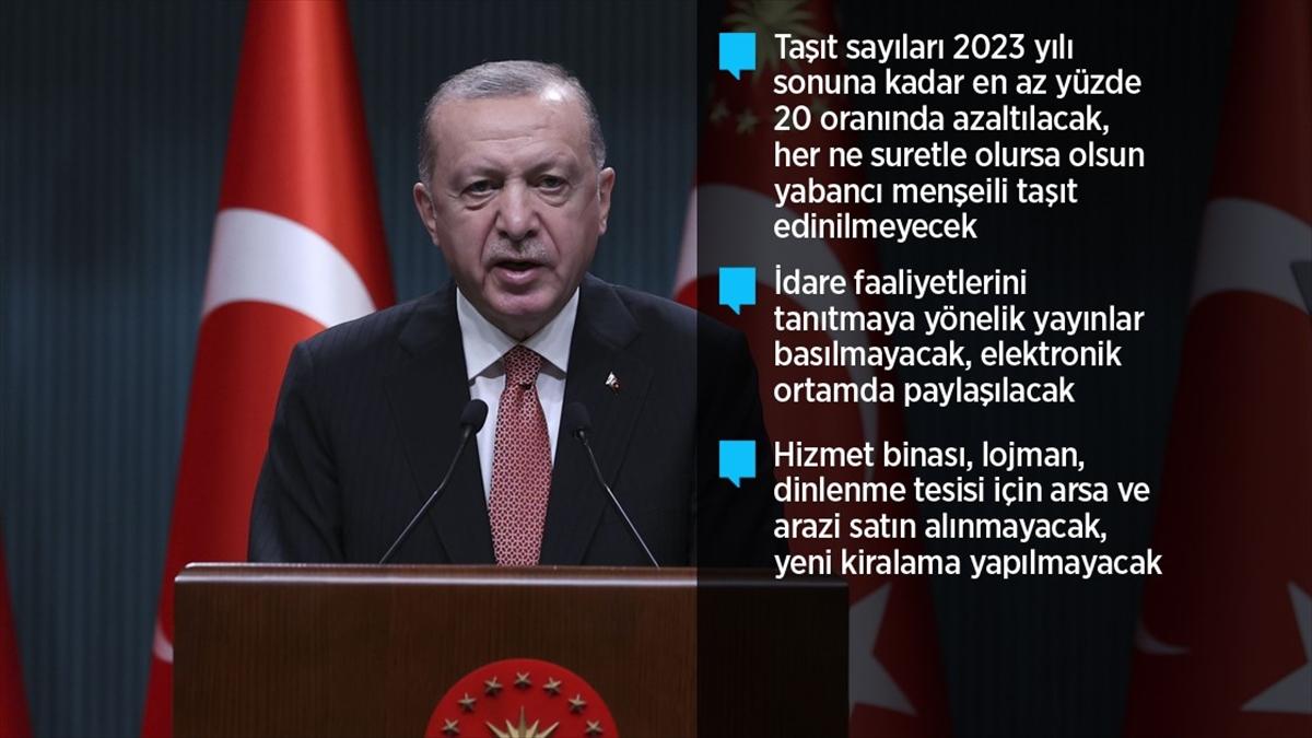 Cumhurbaşkanı Erdoğan'dan 'tasarruf tedbirleri' genelgesi