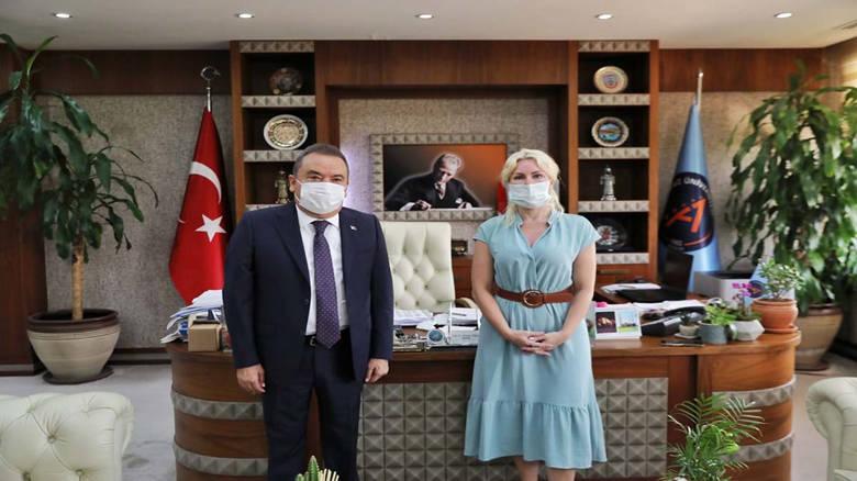Başkan Böcek'ten A.Ü Rektörü Özlenen Özkan'a teşekkür ziyareti