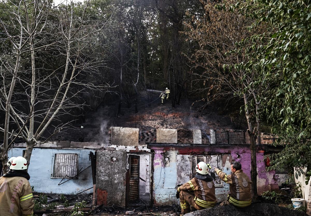 Sarıyer'de gecekonduda çıkan ve ormanlık alana da sıçrayan yangın söndürüldü